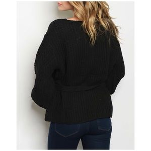 January Summer Sweaters - BLACK BELTED PUFFY SLEEVES SWEATER KNIT